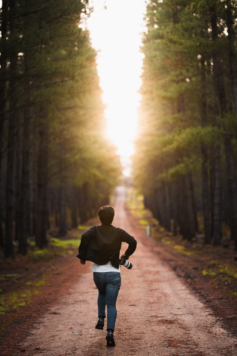 man in black jacket and blue denim jeans walking on pathway between trees during daytime