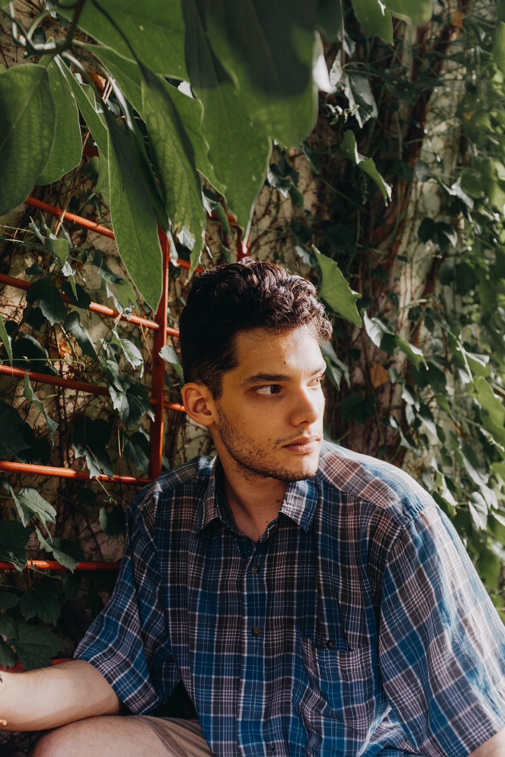 man in blue white and black plaid button up shirt standing near green leaves