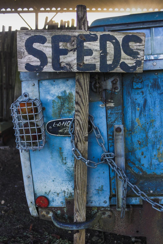 white metal bird cage on blue wooden door