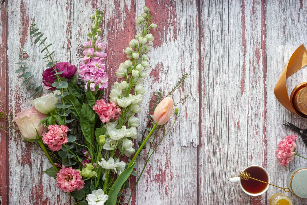 pink flower on gray wooden plank