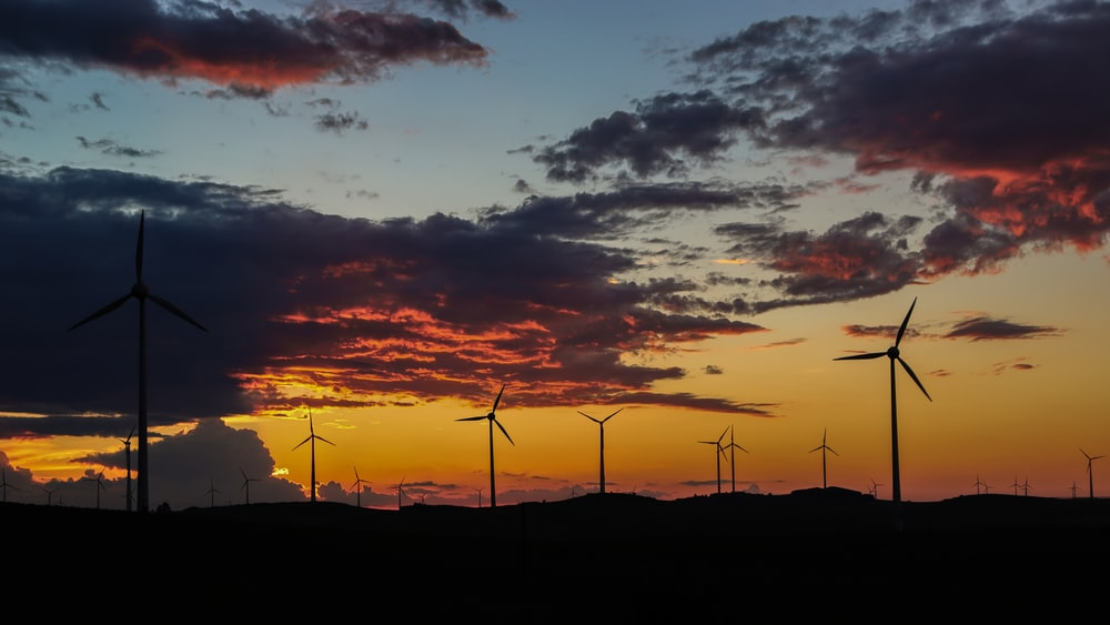 silhouette of wind turbines during sunset