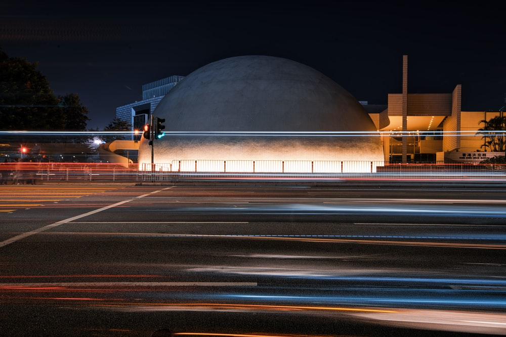 gray dome building during night time