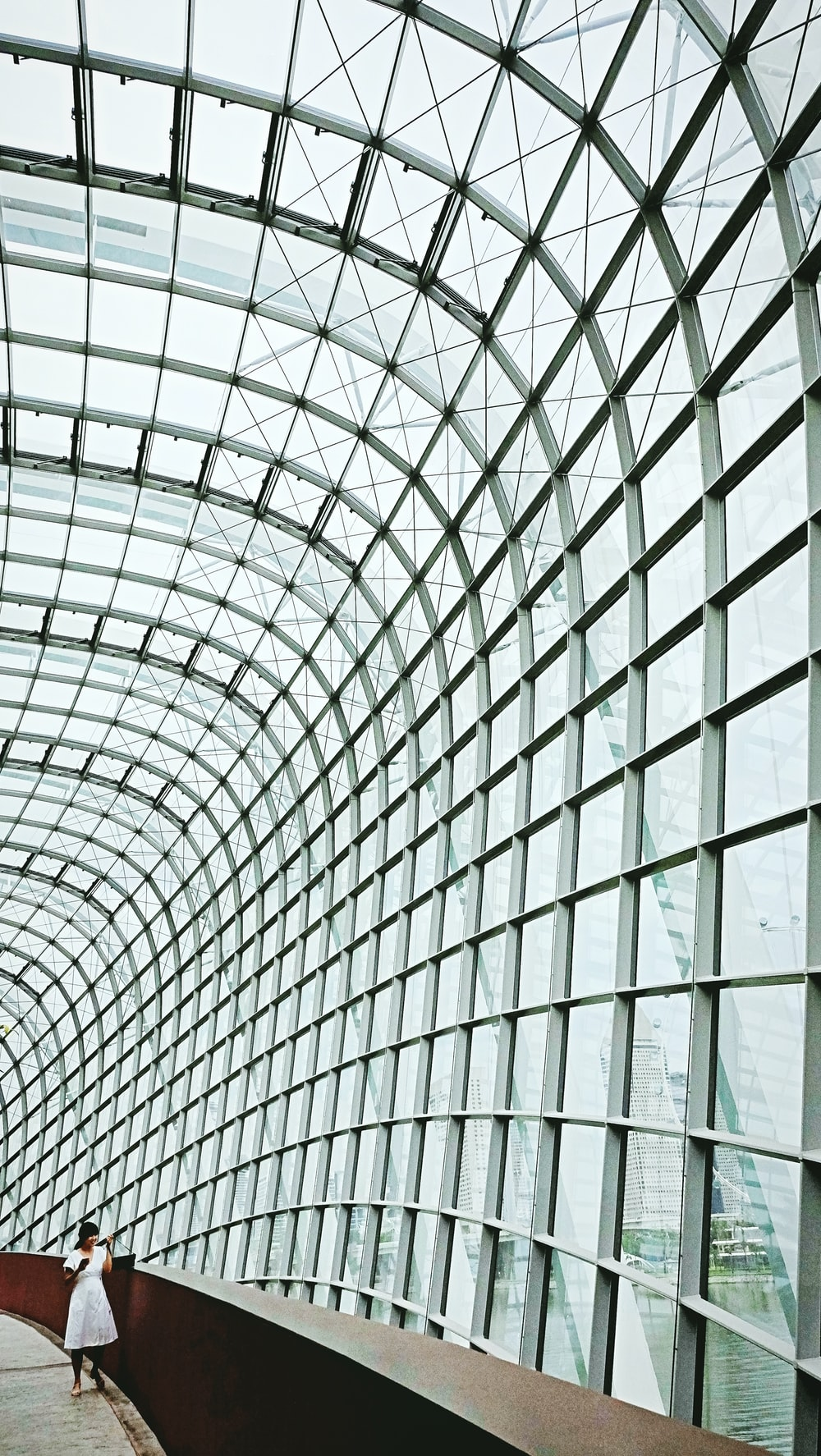 grey metal frame glass roof