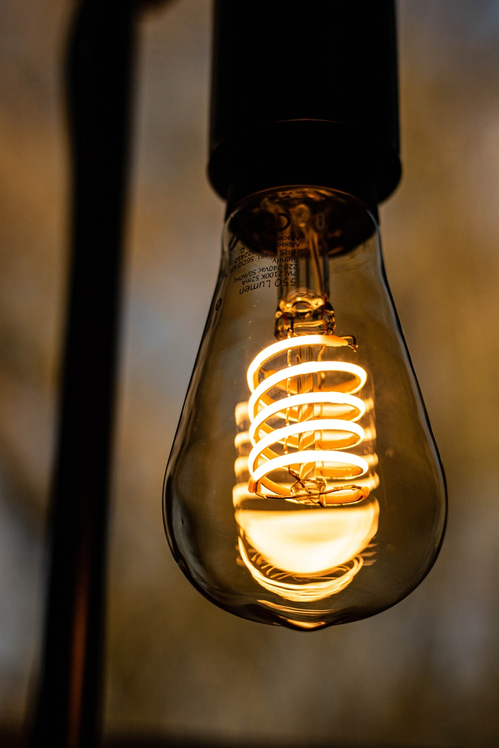 light bulb turned on in close up photography