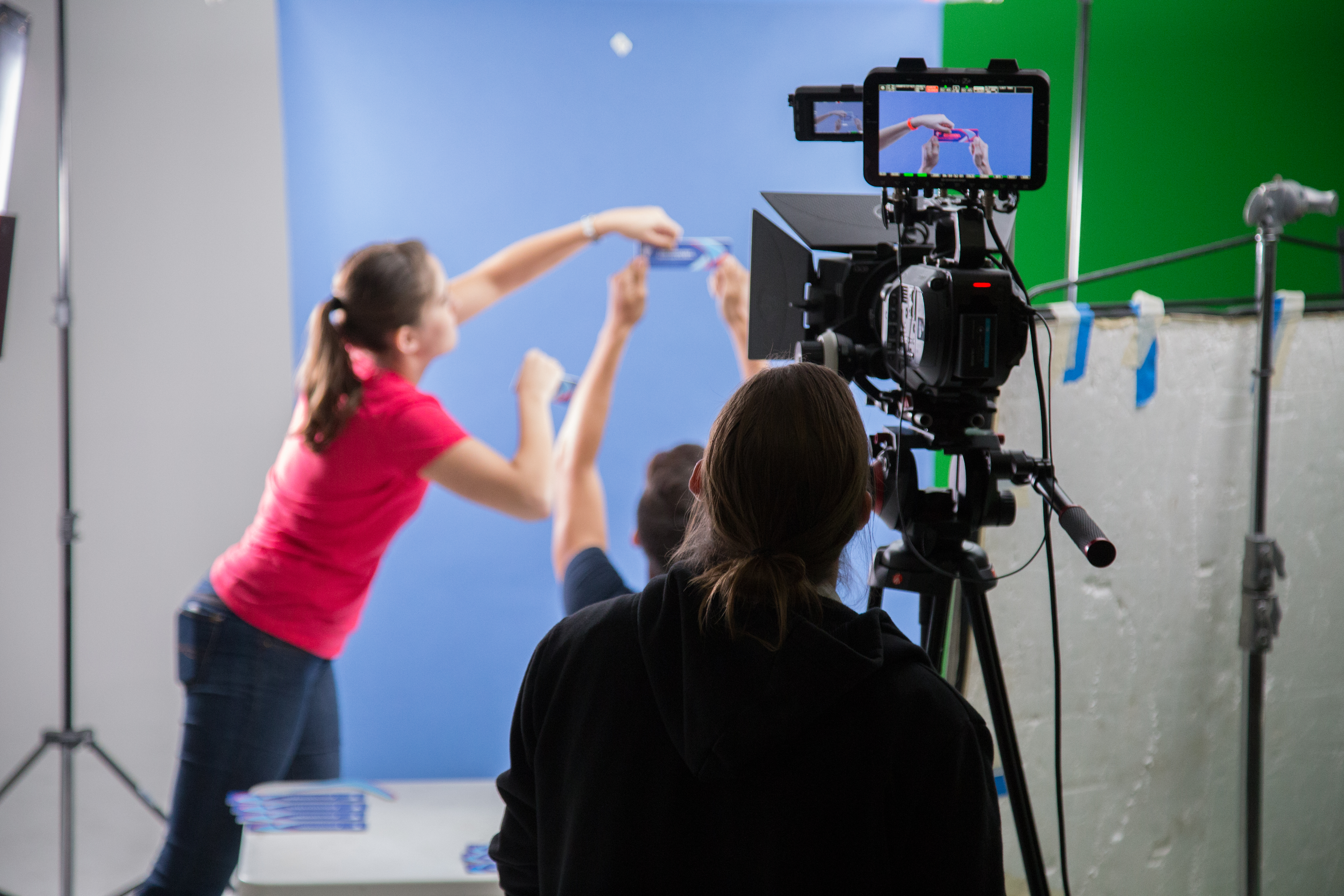 Behind the scenes commercial shoot from directors camera perspective