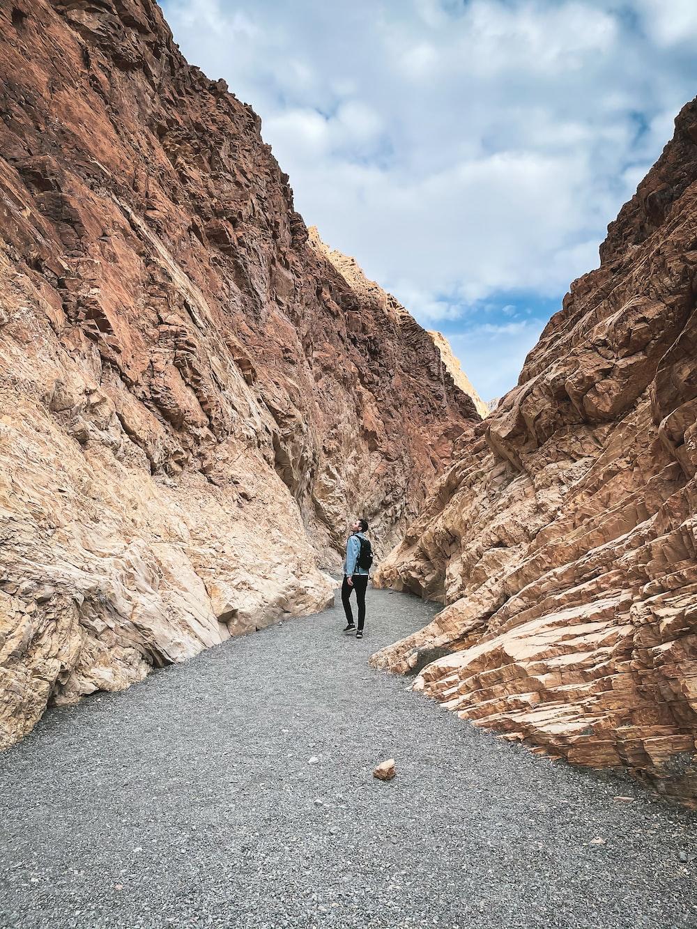 man in blue jacket walking on pathway between brown rock formation during daytime