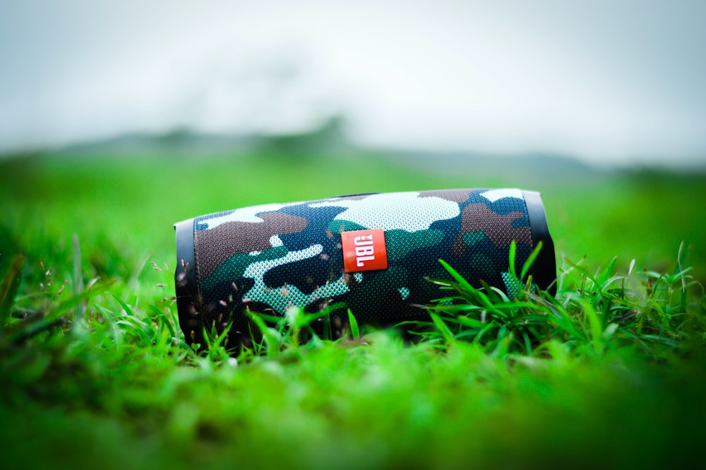 black and white floral pouch on green grass