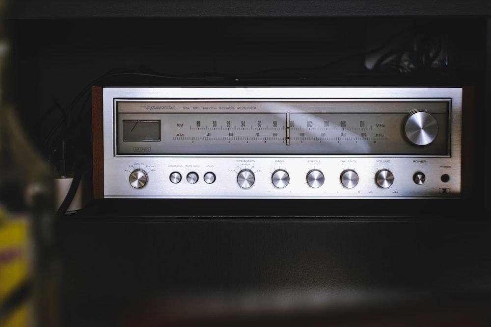 silver and black radio component