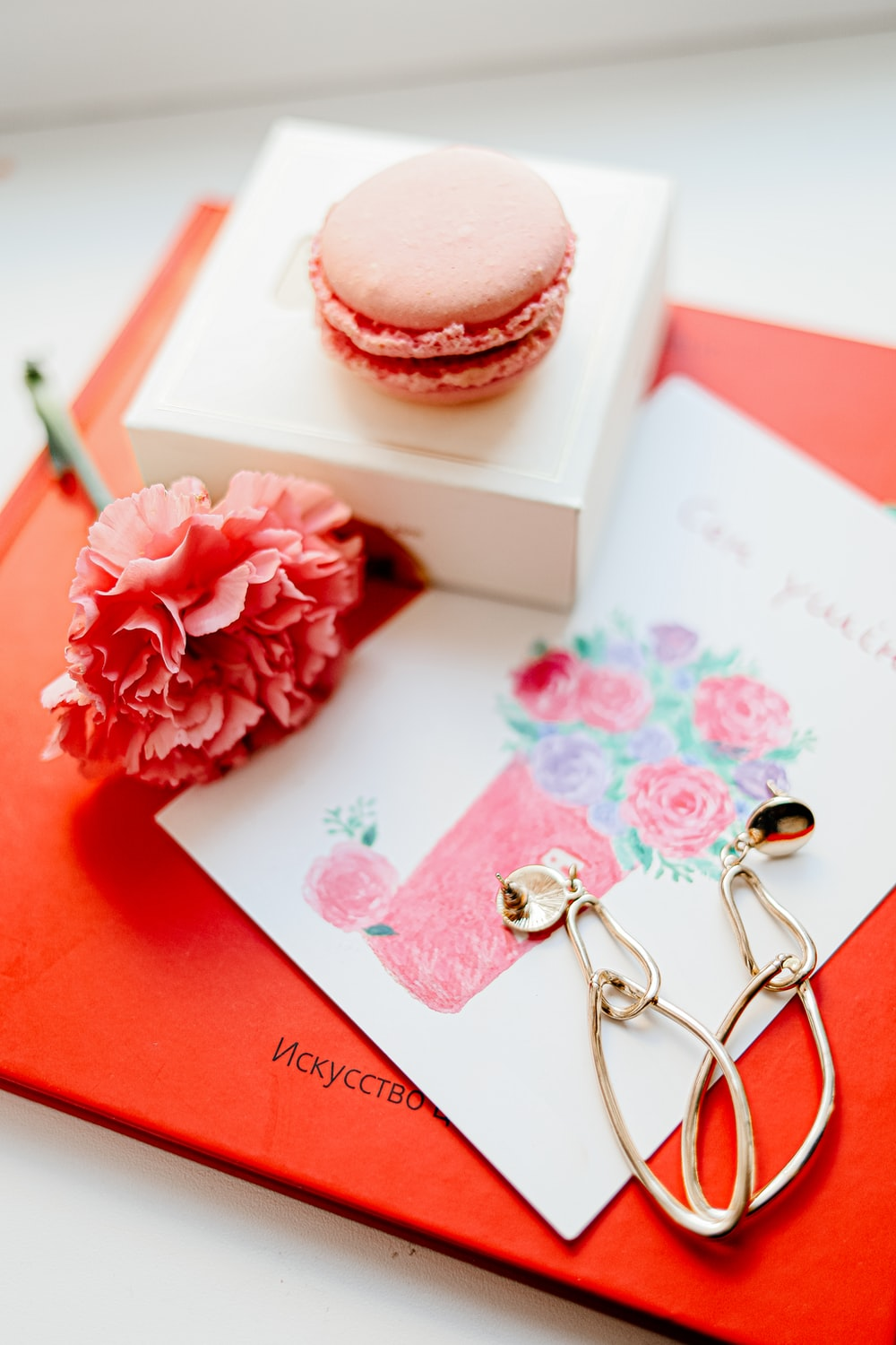 pink and white rose on white and red greeting card