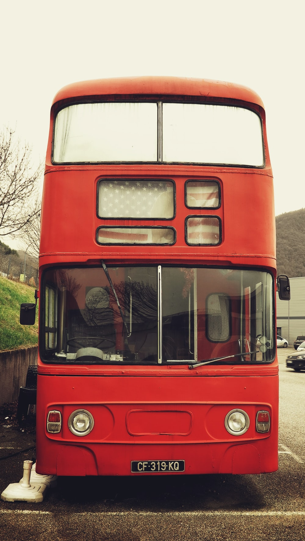 red and white bus near green trees during daytime