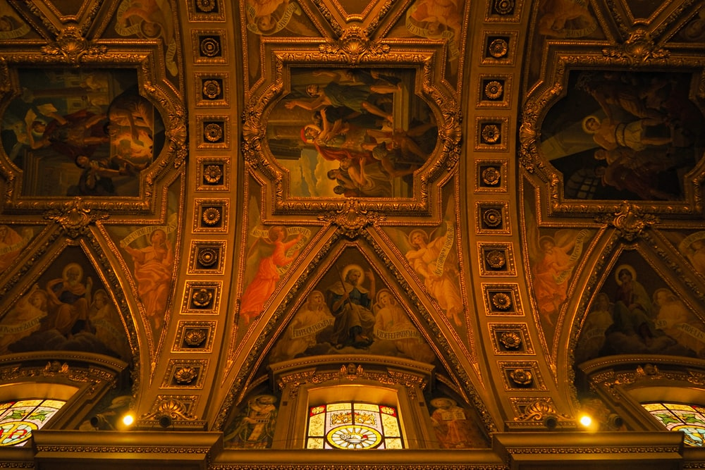 gold and brown ceiling decor