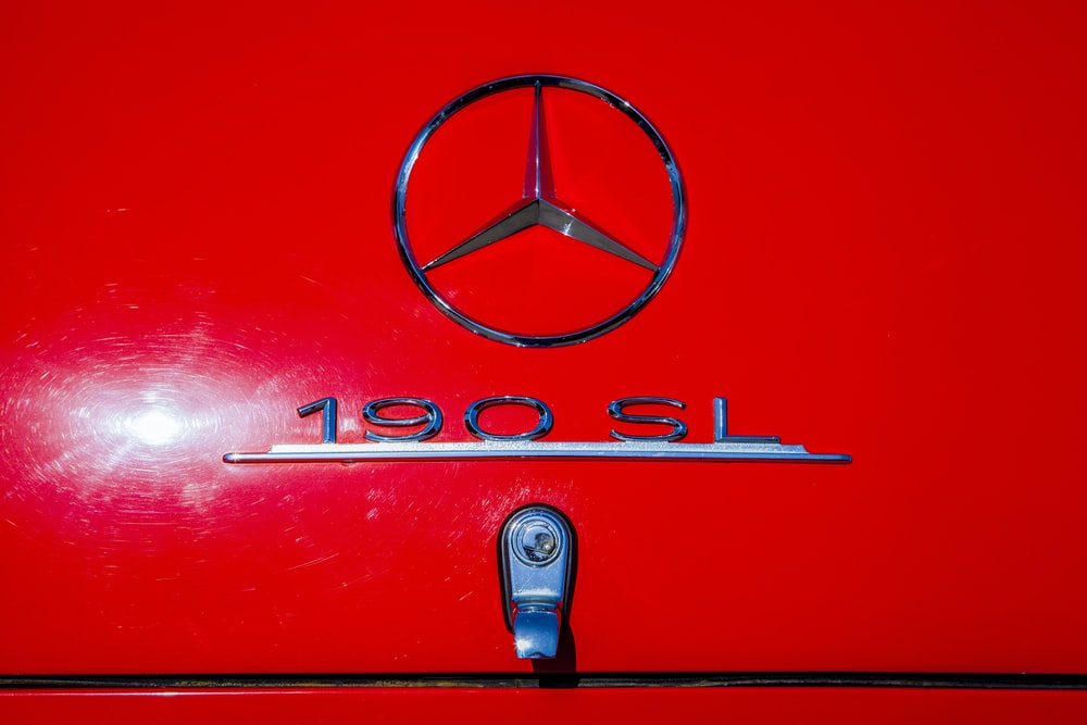 red mercedes benz car door