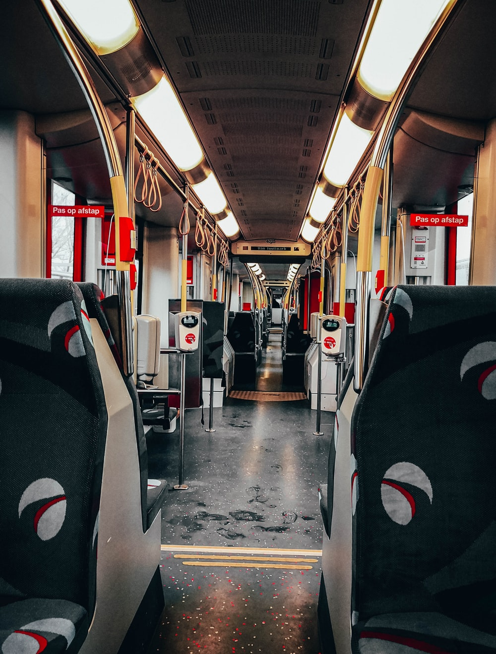 black and white train interior