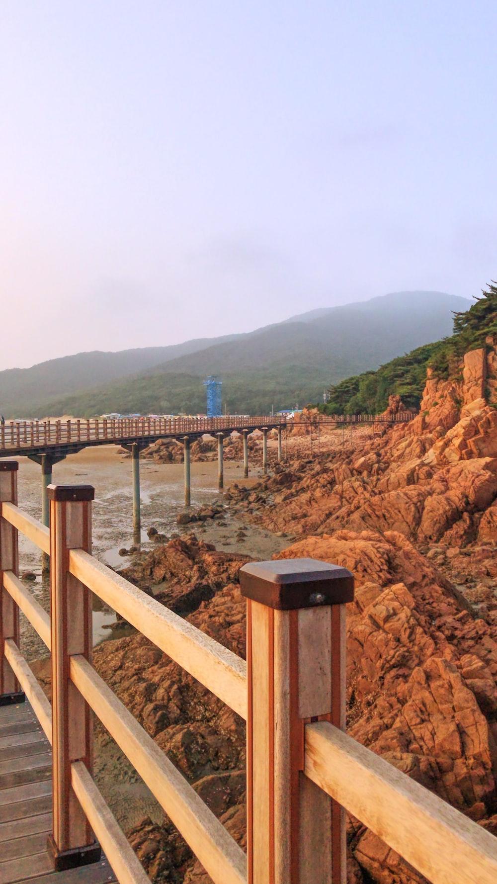 brown wooden bridge over the river