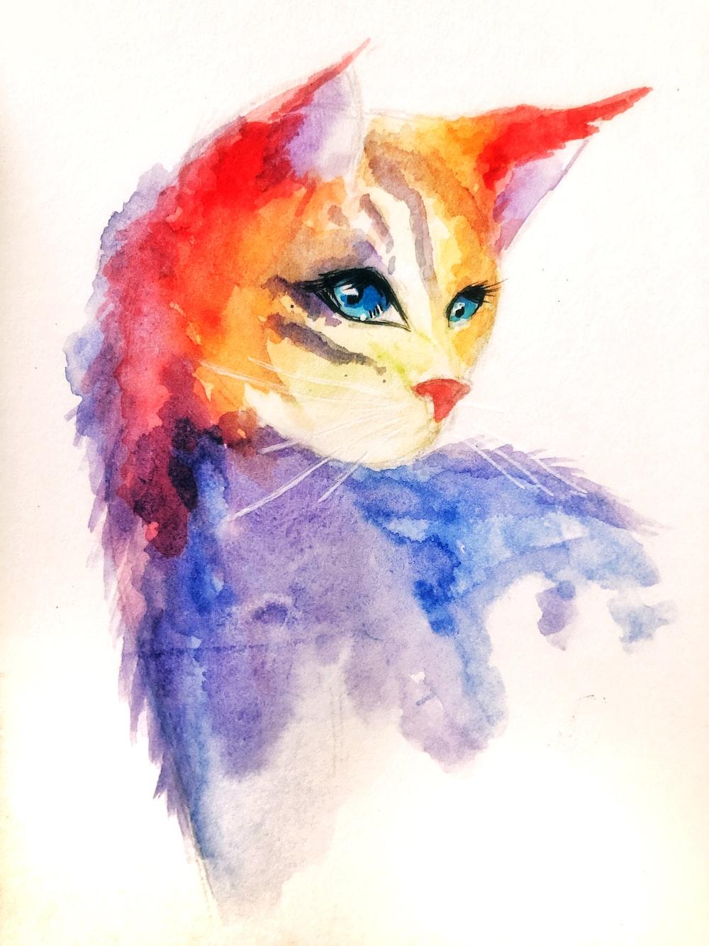 orange blue and white cat painting