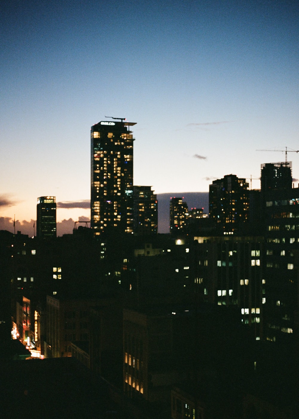 high rise buildings during night time