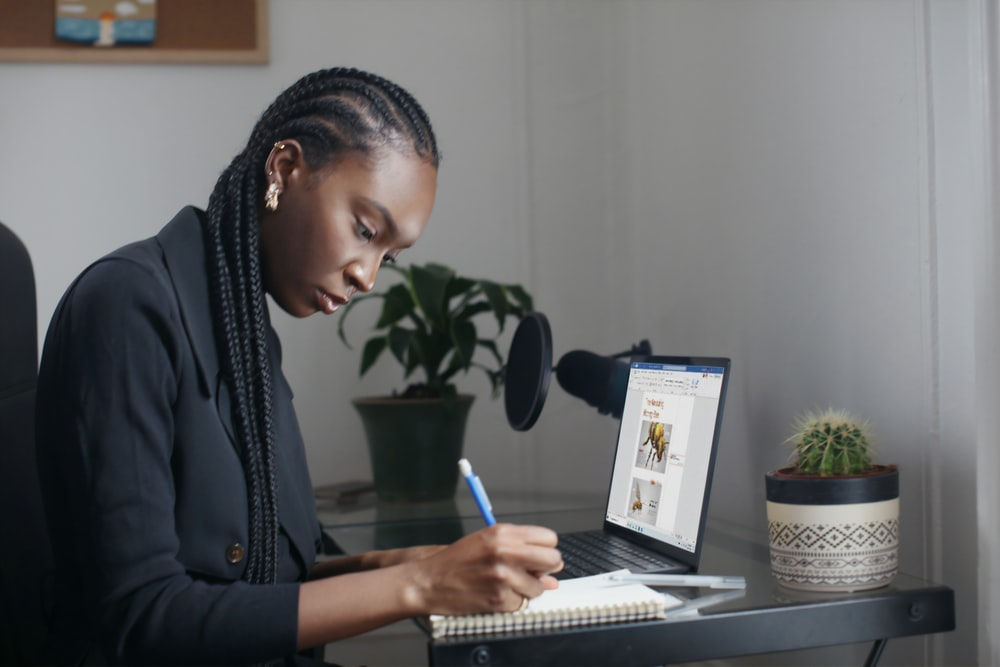 person using Surface device