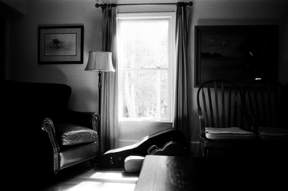 grayscale photo of living room
