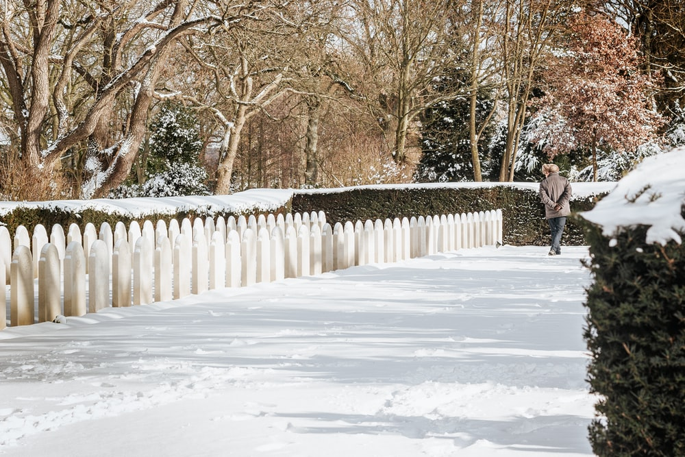 person in black jacket walking on snow covered pathway during daytime