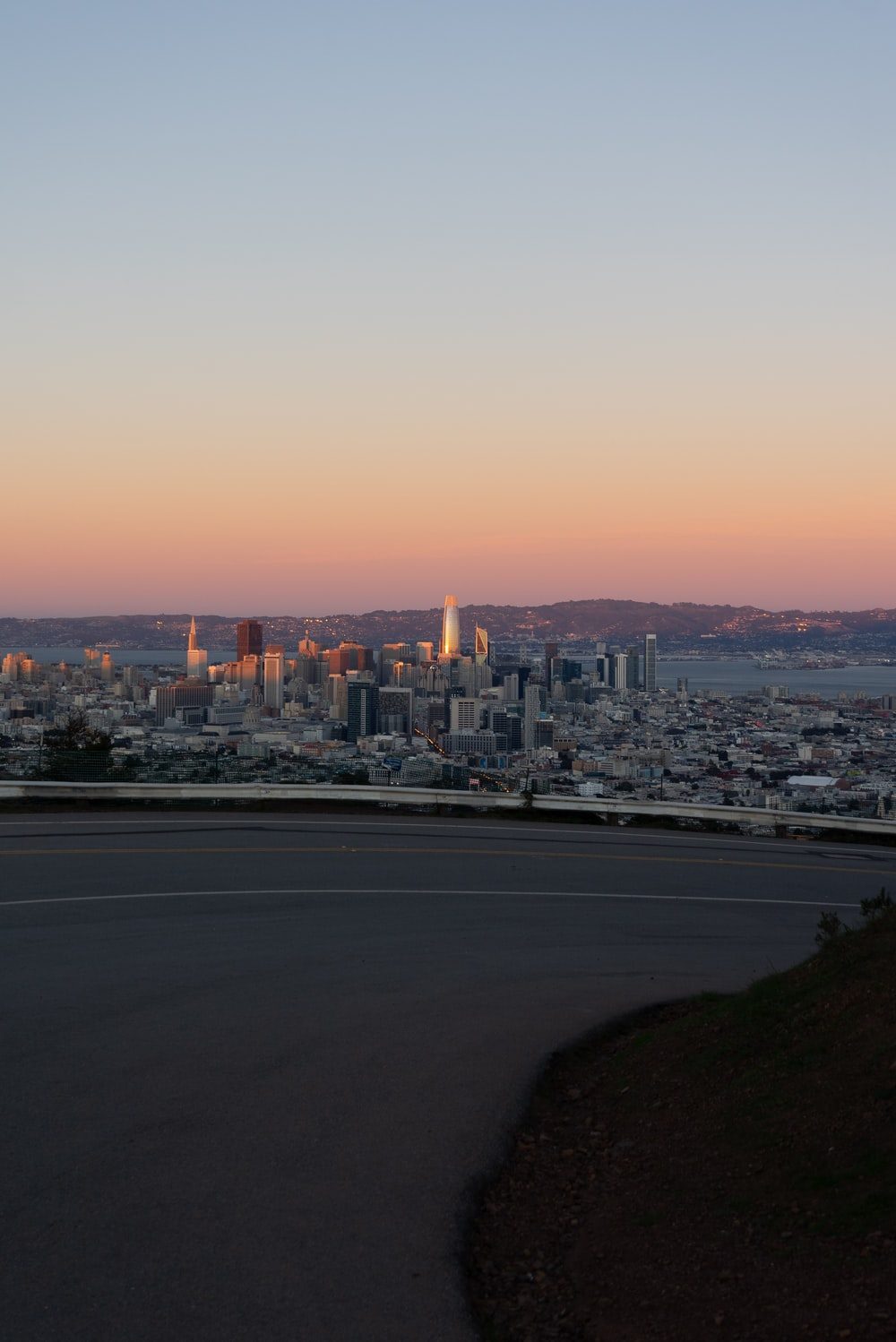city skyline during sunset with city buildings