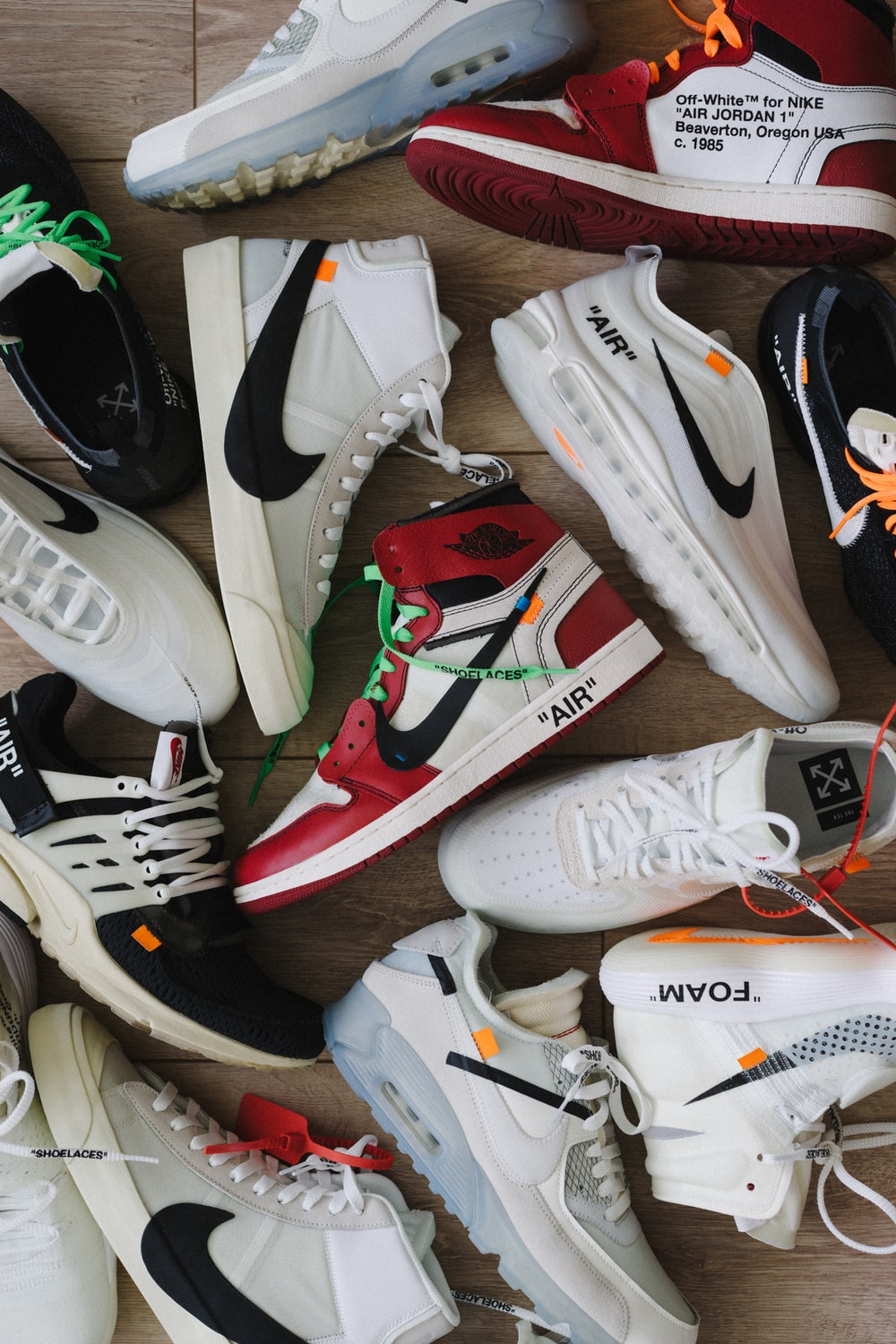white green and red nike sneakers