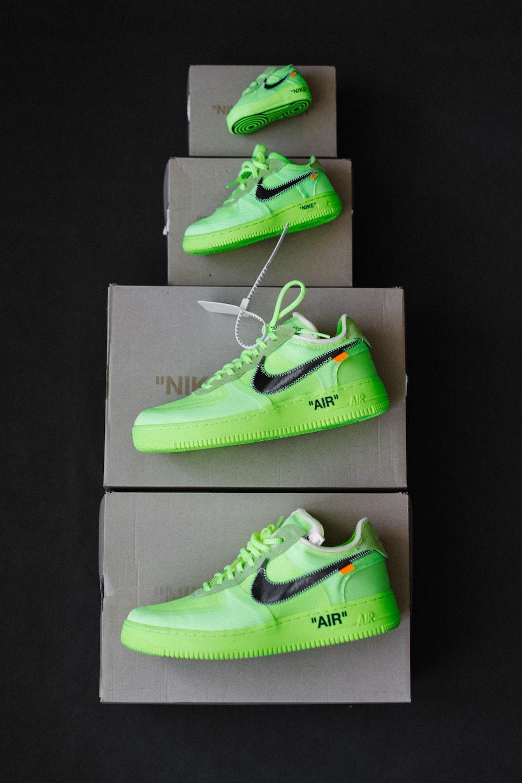 green nike low top sneakers