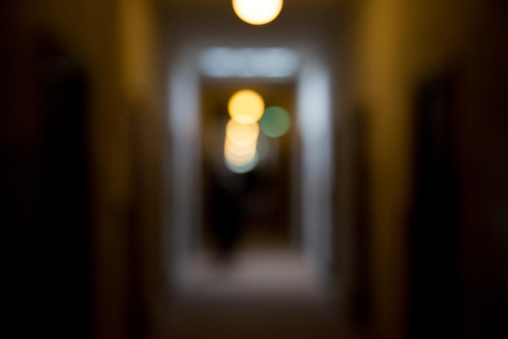 light bulb turned on in a dark room