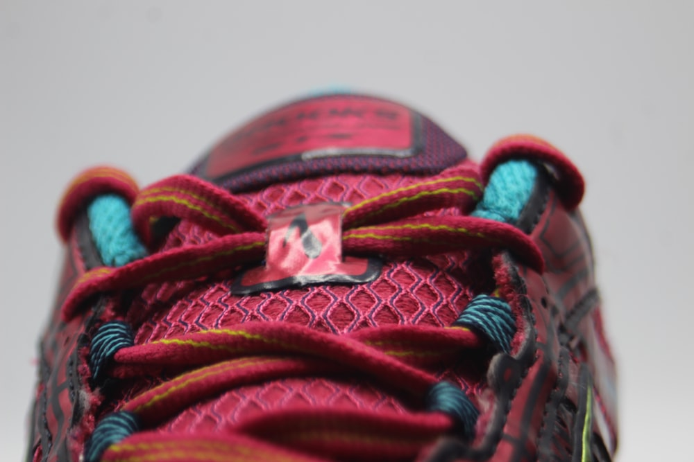 red and blue shoe lace
