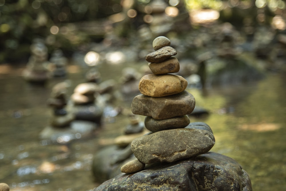 brown and gray stone stack