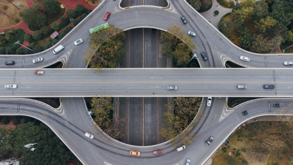aerial view of a road