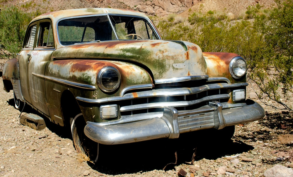 brown and white vintage car