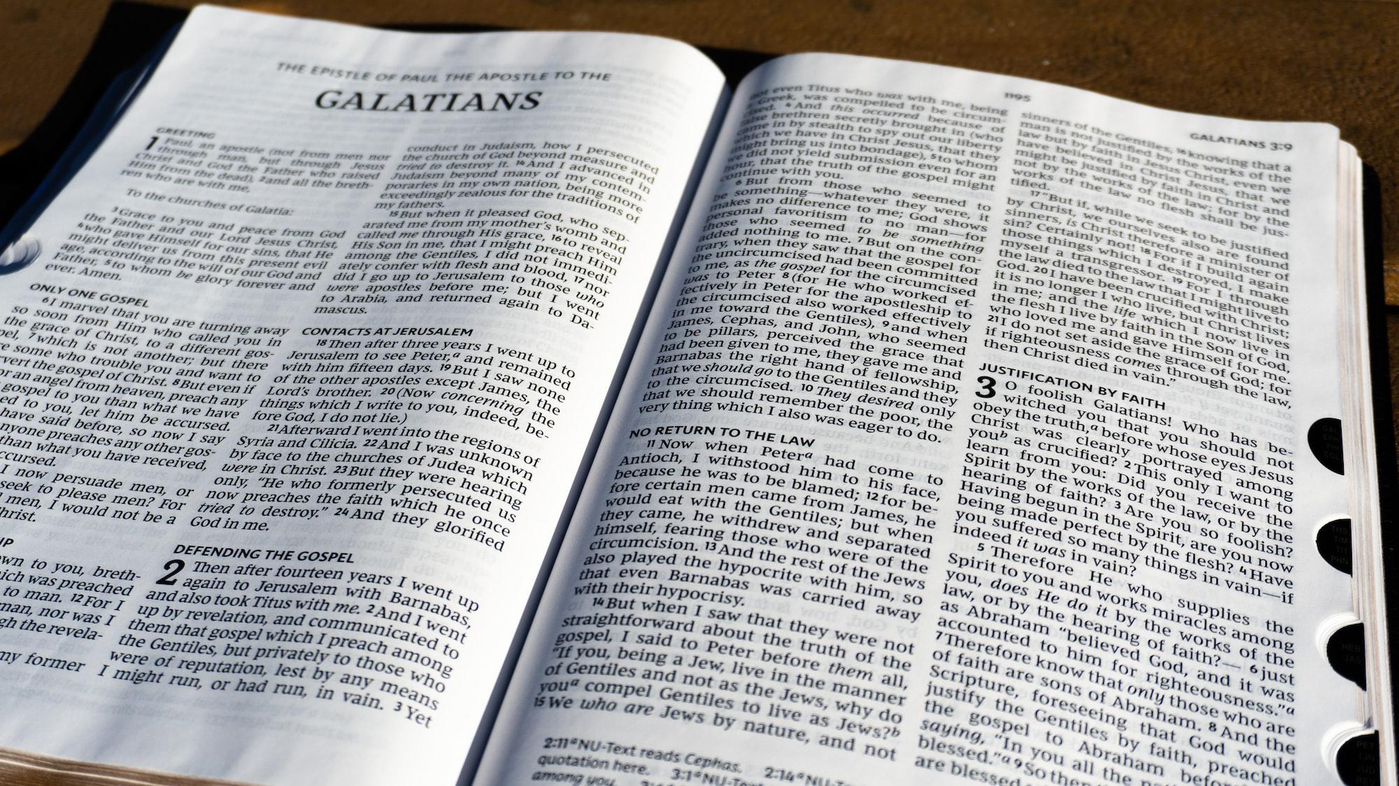 [16:9] NKJV Bible open to the Book of Galatians, closeup
