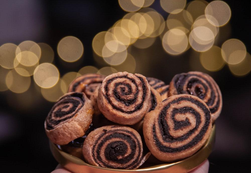 brown cupcakes on white ceramic plate