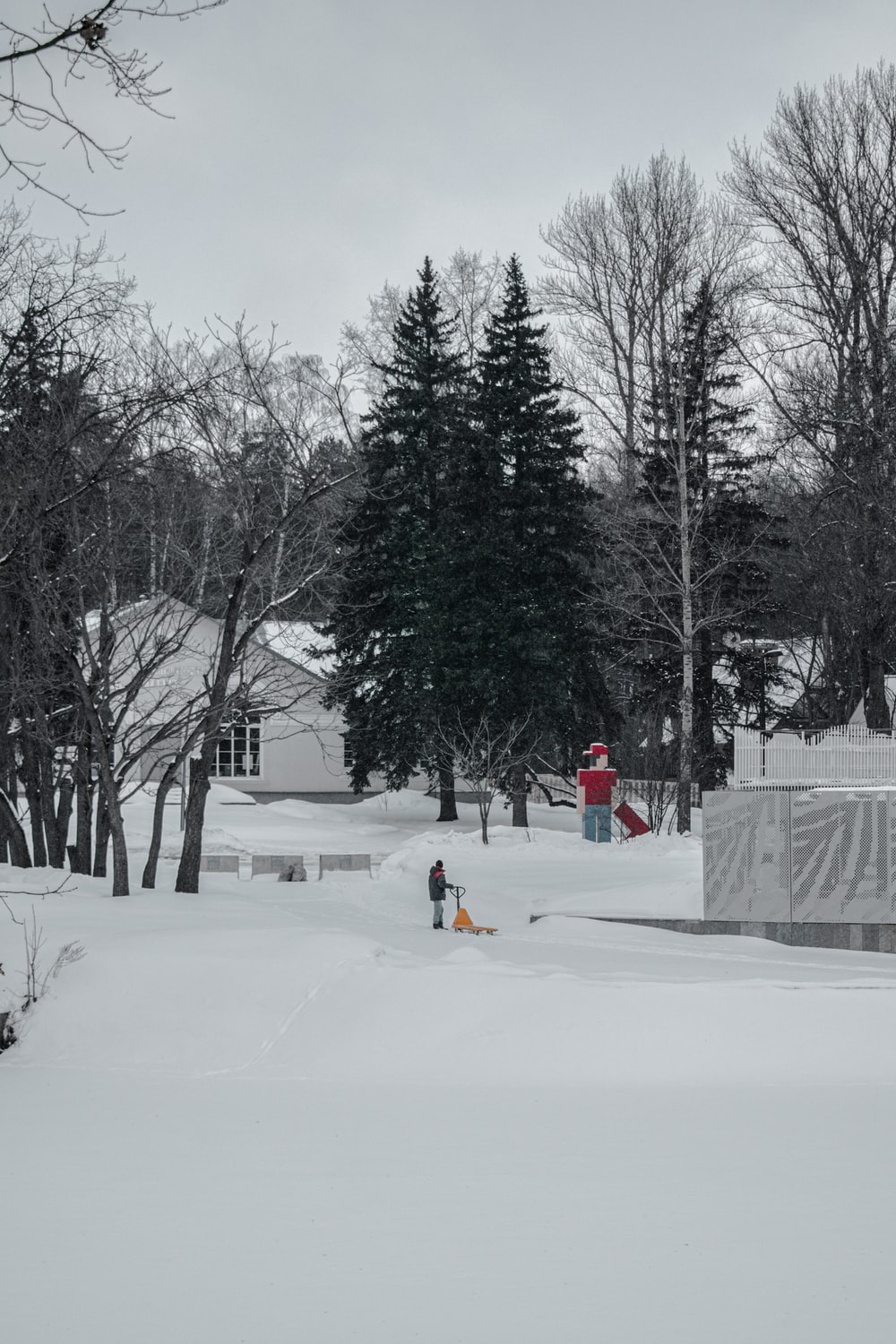person in red jacket and yellow pants standing on snow covered ground near bare trees during