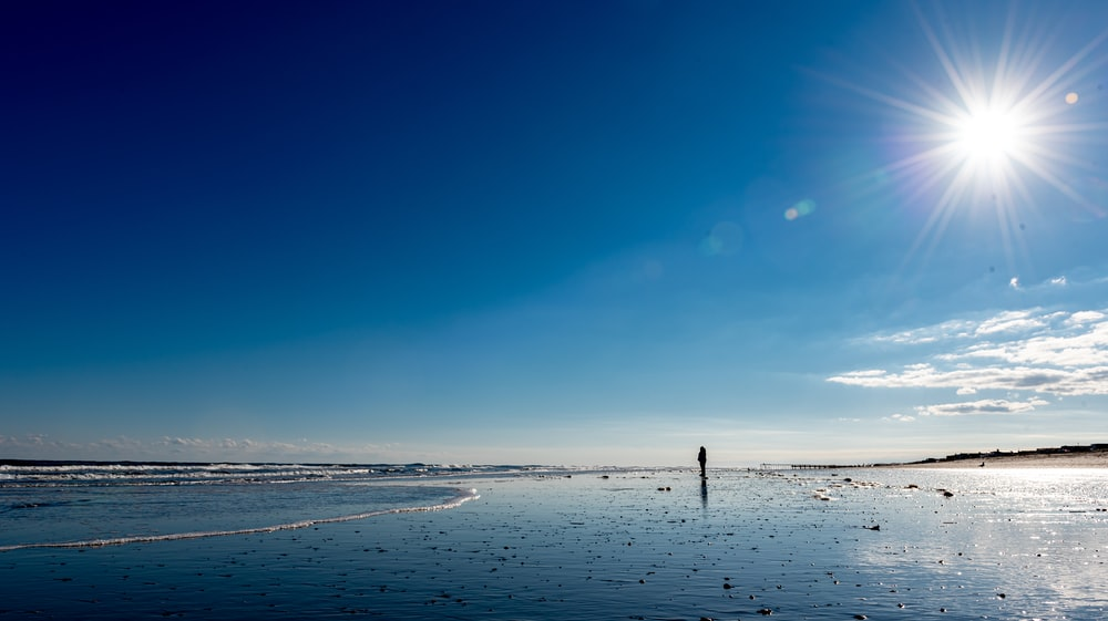person standing on beach during daytime