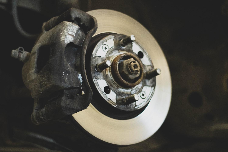 An exposed brake.