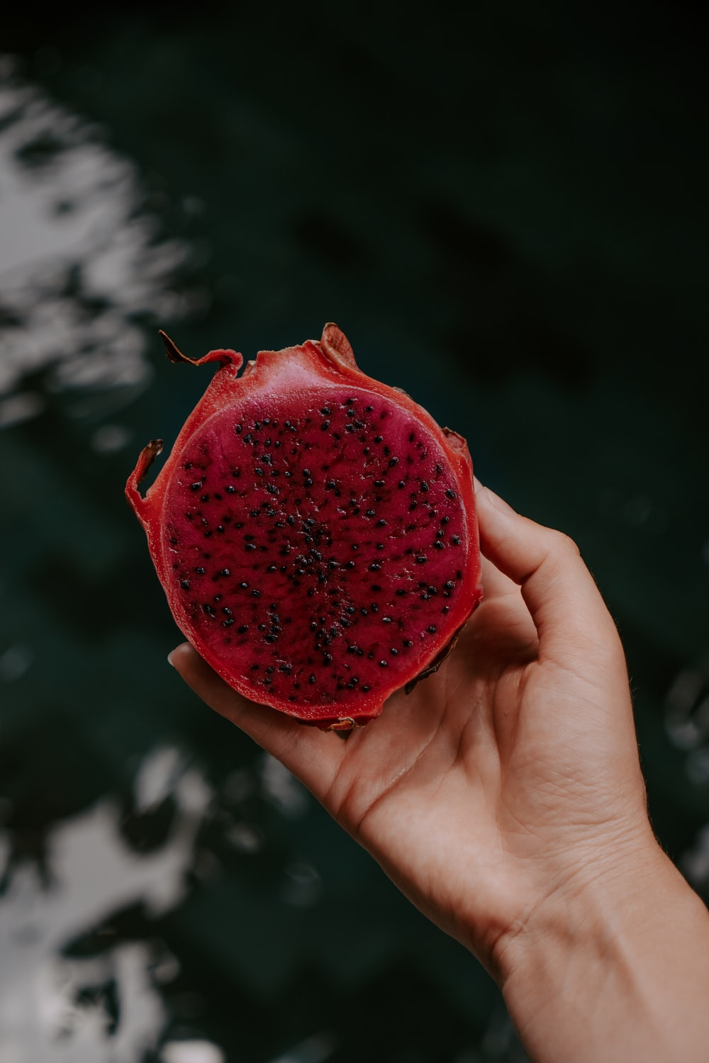 person holding red strawberry fruit