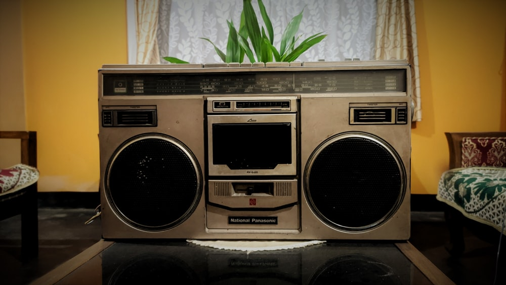 brown and black cassette player