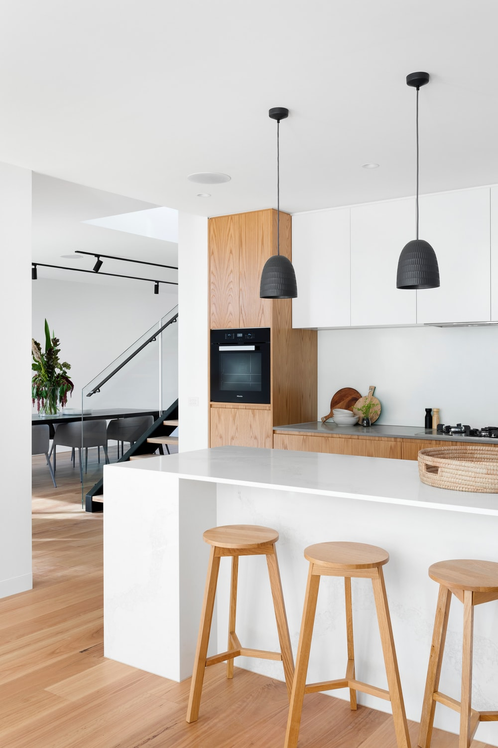 white and brown wooden kitchen counter