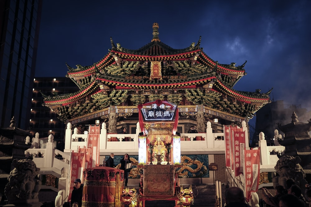 red and brown temple during night time