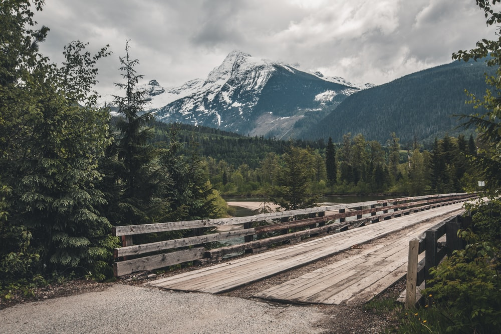 brown wooden rail road near green trees and snow covered mountain during daytime