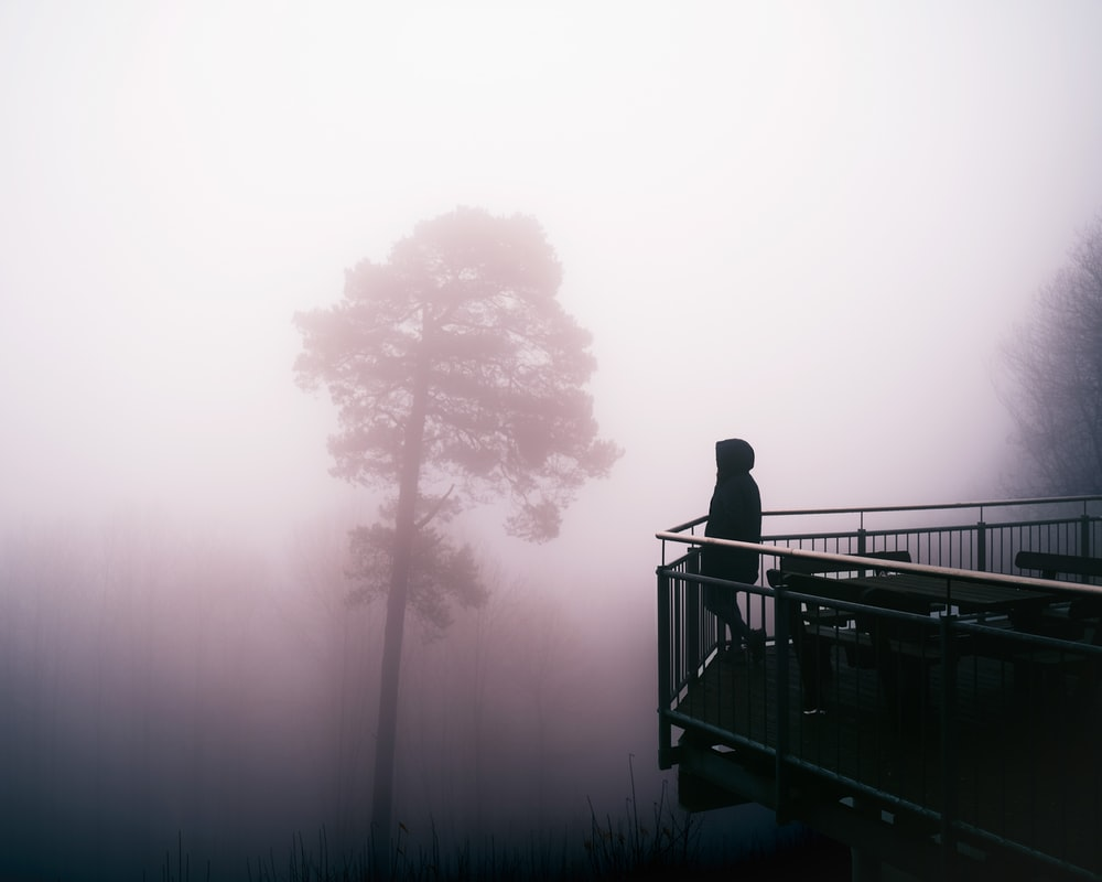 silhouette of person standing on bridge
