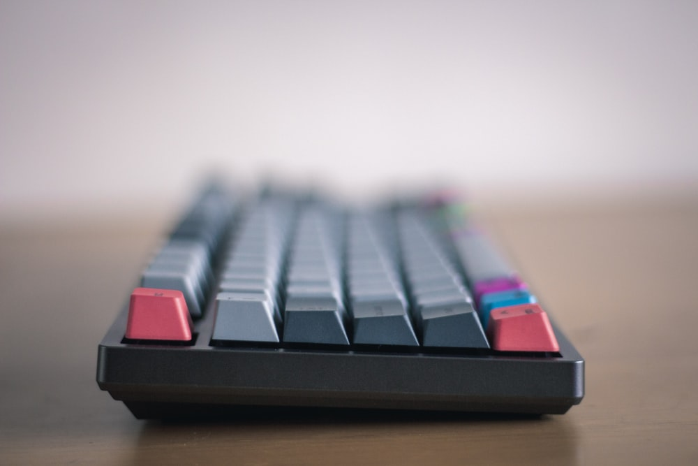 black red and white computer keyboard
