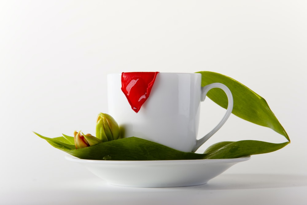 white and red ceramic mug on white ceramic saucer