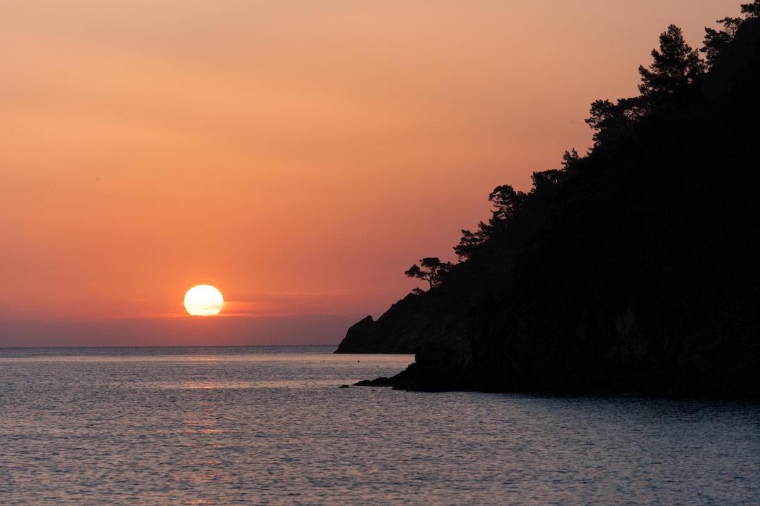 Summer time Turkey Sunrise silhouette above sea and sky