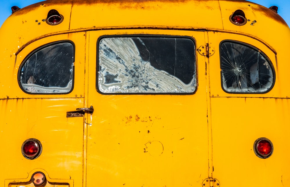 yellow van with brown tree branch