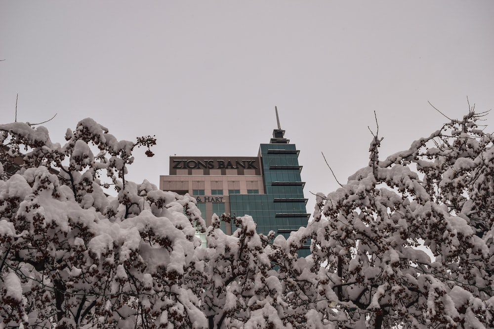 brown concrete building covered with white snow during daytime
