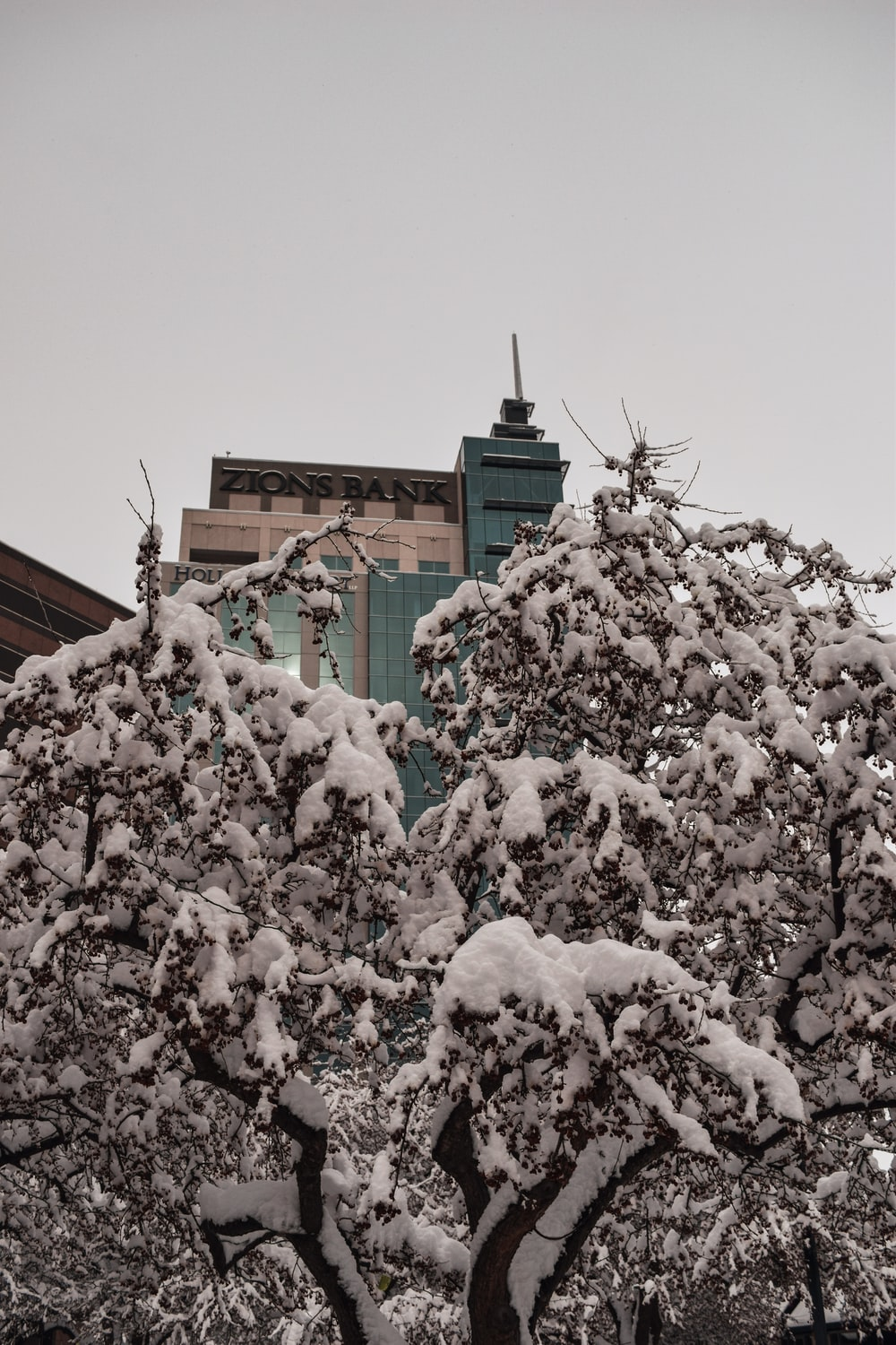 brown concrete building covered with white snow
