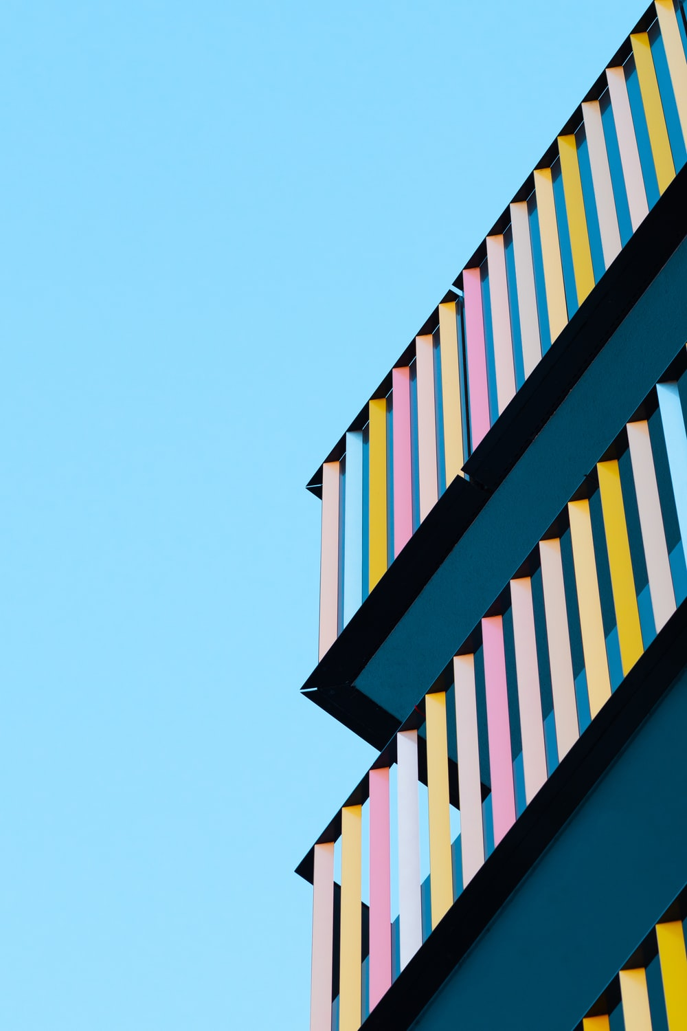 blue and white striped building