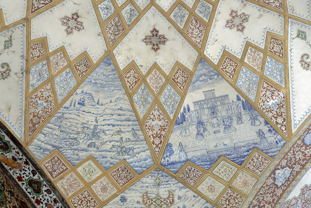 blue and white floral ceramic tiles